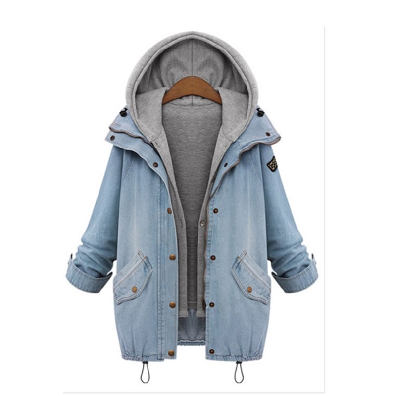 Female Outwear Clothes Sets Plus Size Women Coat Jackets Autumn Winter Ladies Long Sleeve Hooded Warm Denim Jackets