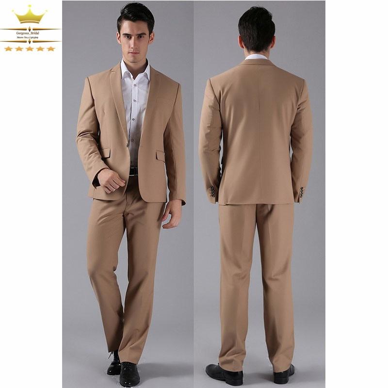 Khaki Grooms Men Suit Mens Tuxedos Vintage Wedding Suits With ...