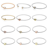 Rose Gold MOMENTS Mesh Bangle Love Heart Two Tone Signature Open Bangle Fit Pandora Bracelet 925