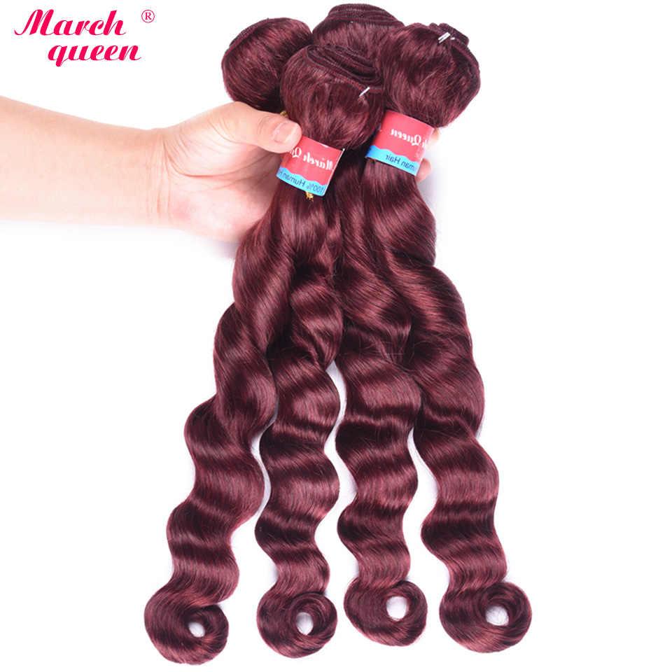 Marchqueen предварительно окрашенные волосы плетение 4 пучка s свободные глубокая волна монгольские волосы пучок 100% человеческие волосы 99J цвет не реми волосы