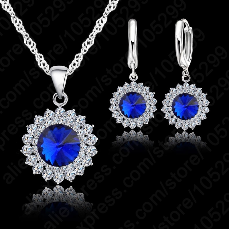 Newest Wedding Jewelry Set  Crystal Necklace Pendant/Earrings Trendy  Women Jewelry Set