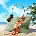 Новый 2017 Женщин Соломы Лето Стиль Тканые Tote Плеча Торговый Пляж Сумки Кошелек Сумочка соломы Пляжные Сумки путешествия для отдыха