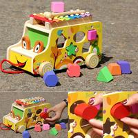 Wooden Cartoon Animals Trailer DIY Puzzle Geometric Shape Bricks Cognition Matching Toy Kids Early Educational Puzzle Toy Car