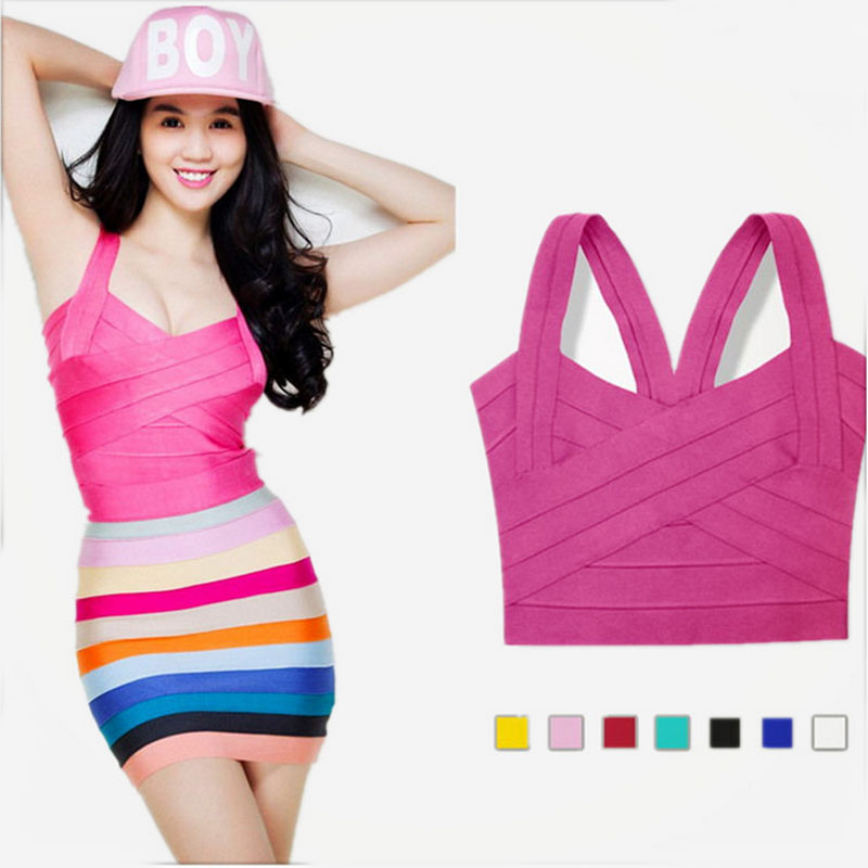 High quality Summer woman's elastic bandage top vest solid candy color spaghetti strap tight cute sweet singlet white pink SK03