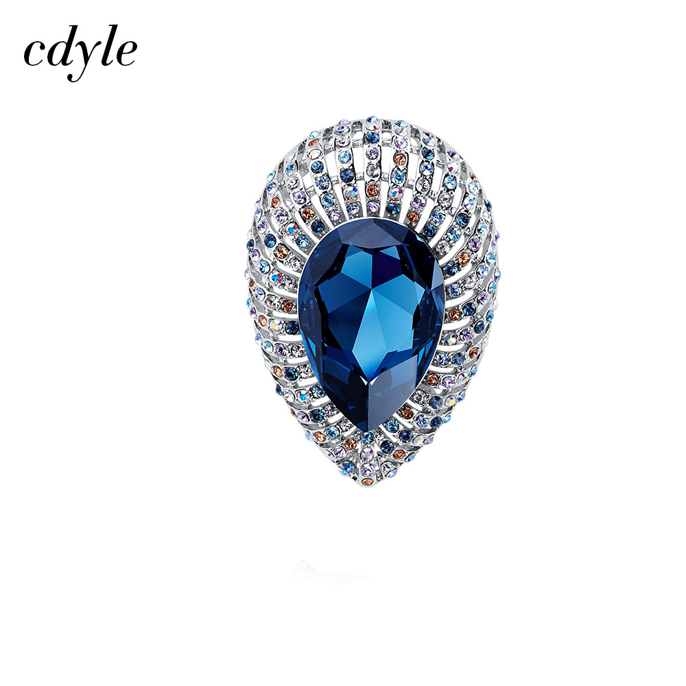 Cdyle Crystals from Swarovski Brooches Women Austrian Rhinestone Jewelry Luxury Fashion Large Blue Crystal Brooch Women Gift цена 2017