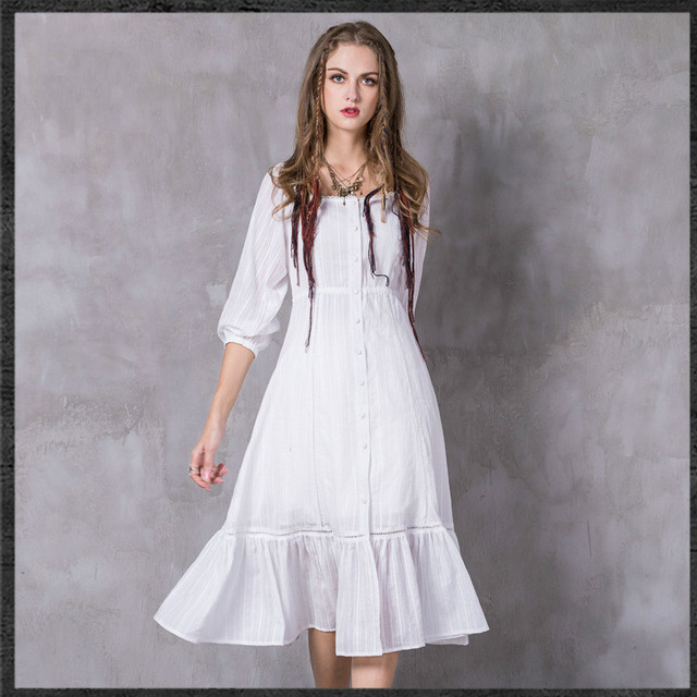 3f591cb54a New Summer 2017 Retro Bohemia style woman Vintage ruffles white 3 4 Sleeve  cotton and linen Beach dress Vestidos Ukraine