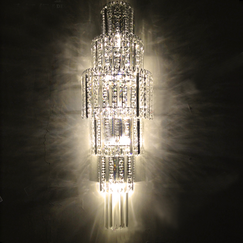 Modern Crystal Wall Light Large Crystal Wall Lamp Bathroom Vanity Lights Wall Lamps Fashional Crystal Wall Sconces Living Room цена 2017