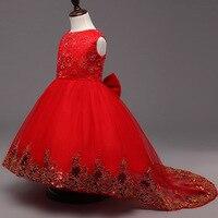 Kızlar Parti Elbise Çocuklar 2016 Sequins Dantel Kolsuz Uzun Kuyruk Düğün Gençler Kırmızı Kız Elbise Elbise