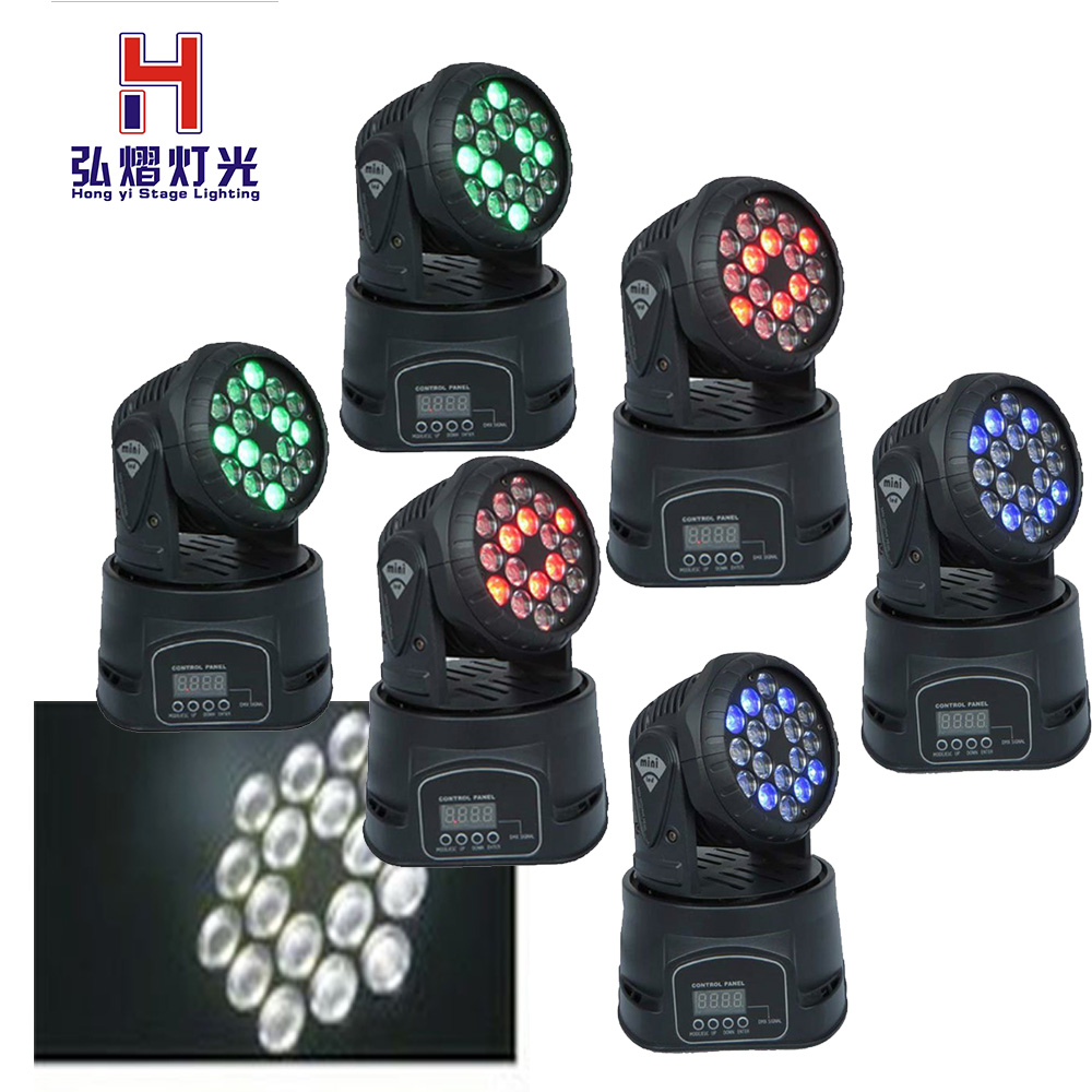 6pcs/lot 18x3W RGB mini led wash moving head light dmx512 stage lighting 10pcs lot cheap stage light 36 15w 5 in 1 led zoom moving head wash light rgbwy color mixing dmx512 lighting control