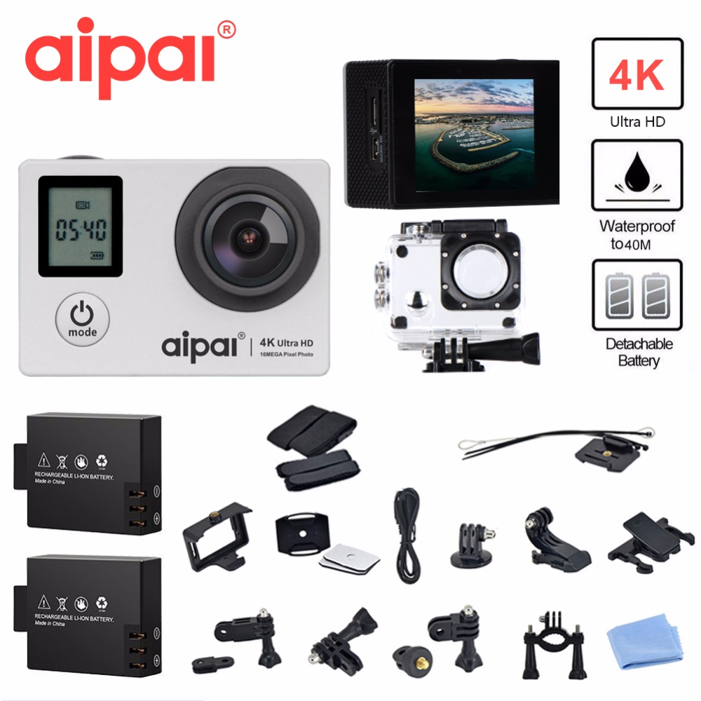 Aipal A1 Dual Screen 4K Action Camera WiFi 16MP  Sports Camera 2.0LCD 1080P Full HD 40m Waterproof Sport Camera DV. zebra 2 way dual action 4