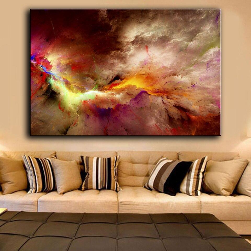 HDARTISAN Lona de arte casa decoración de pintura al óleo de pared para SALA DE abstracto irreal nubes sin marco