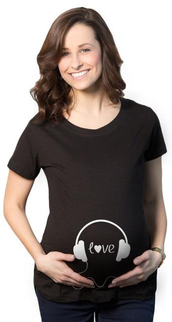 Negro y Azul de Las Mujeres Embarazadas Camisa Divertida Tee Tops camisas de Algodón de maternidad del verano de Maternidad linda divertida camisas embarazadas