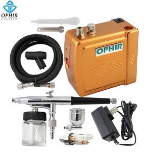 Image 2 - OPHIR 0.3 ミリメートルデュアルアクションエアブラシキット空気圧縮機ケーキ Ophir Mahine メイクアップツール # AC003H + AC005 + AC011