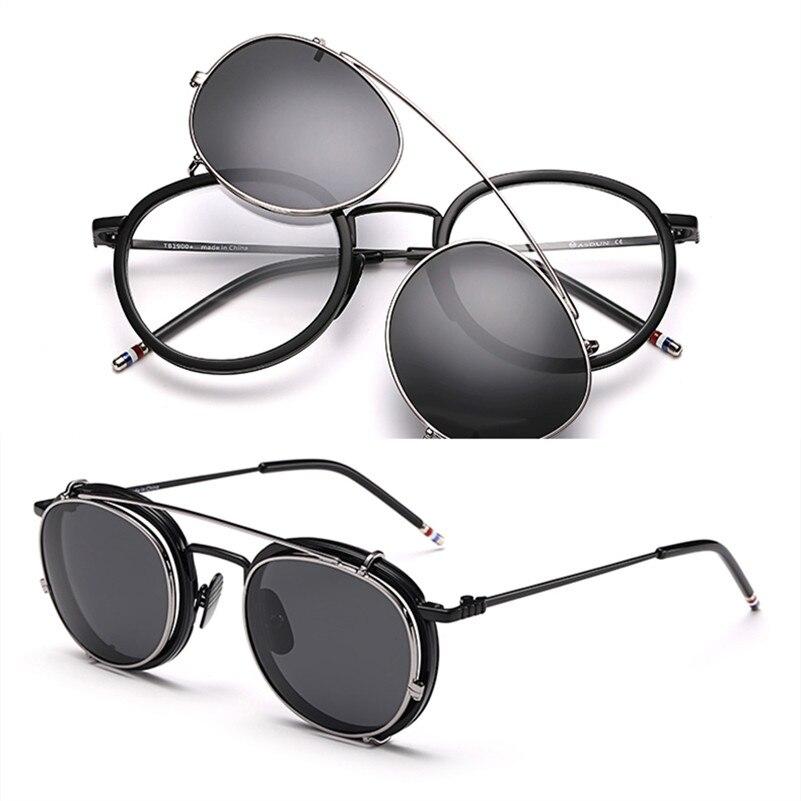 Nouvelles montures de lunettes rondes TB710 avec Clip polarisé pour hommes et femmes lunettes avec emballage d'origine lunettes Oculos