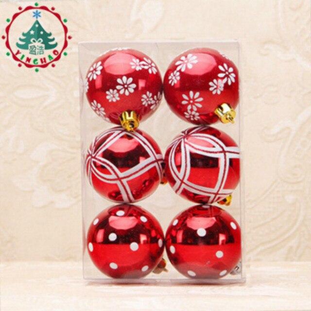 2017 Fashion 6pcs Xmas Decorative 6cm Ball Ornaments For Christmas Tree  Decorations Christmas Balls For Home