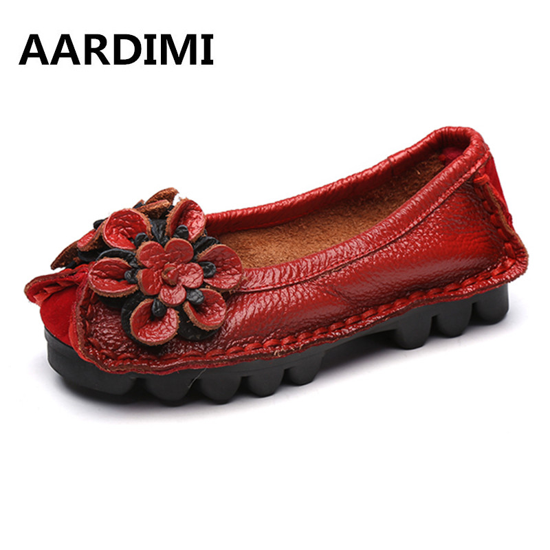 New Autumn Flowers Handmade Genuine Leather Shoes Women Floral Flat Shoes Casual Vintage Style Cow Leather Shoes Woman genuine leather handmade women shoes vintage spring and autumn women shoes flat shoes low top casual shoes free shipping