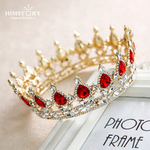 Himstory Vintage Red/Blue Crystal  Queen Prom Tiaras Full Round Rhinestone Crown Wedding Diadem Pageant Bridal Hair Accessories недорого
