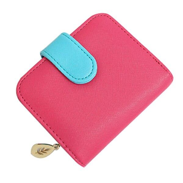 Lady short paragraph cross strip multi-card bit zero purse zipper buckle wallet, Rose Red +Blue