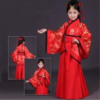 2018 Children Traditional Ancient Chinese Girls Red Hanfu Women Folk Dance Costume Kids Tang Fairy Dress China Clothing DN2124