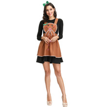 Cute Gingerbread Man Costume For Women Dessert Division Cosplay Halloween Adult Carnival Fancy Dress Up