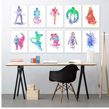 Originele aquarel zwart wit superheld avenger batman filmkunst poster muur foto canvas schilderij kinderkamer decor