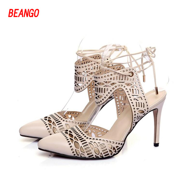 BEANGO Lace Up Women Sandals Sexy Laser Cut Hollow Out High Heels Women Dress Shoes Cross Tied Stiletto Pointed Toe Ladies Shoes