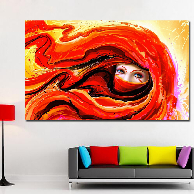Us 3 99 48 Off Selflessly Living Room Home Wall Decoration Wood Frame Poster Painting Art Girl Artistic Eye Face Red Flowers Red Hair In Painting