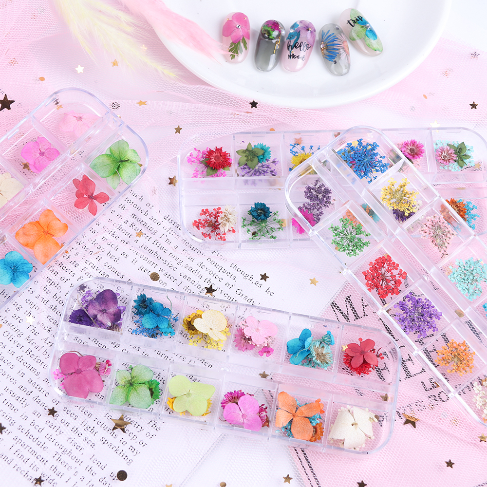 Mix Dried Flowers Nail Decorations Jewelry Natural Floral Leaf Stickers 3D Nail Art Designs Polish Manicure Accessories (1)