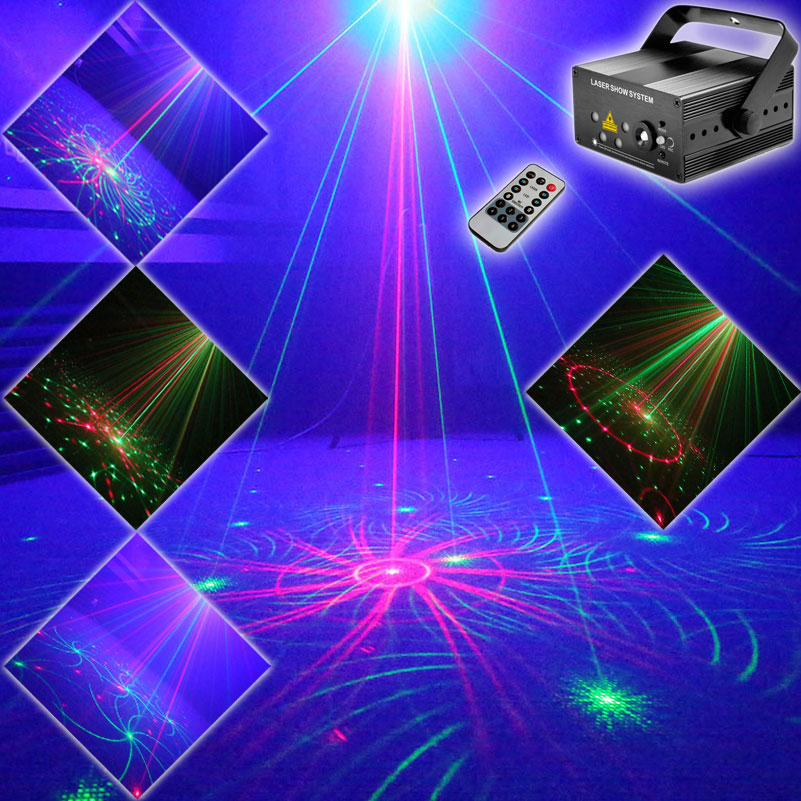 ESHINY Mini R&G 5 Lens 96 Laser Pattern Projector Blue Led Club Party Bar DJ Holiday Disco Xmas Dance Lighting Stage Light N1T90