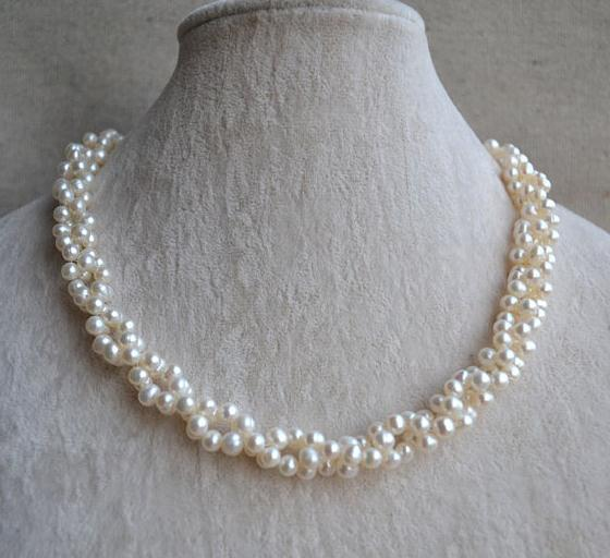 Charming Pearl Necklace,Twisted Pearl Jewellery,18 inches 4-5mm Freshwater Pearl Necklace , White Color Wedding Pearl For Woman charming color 100