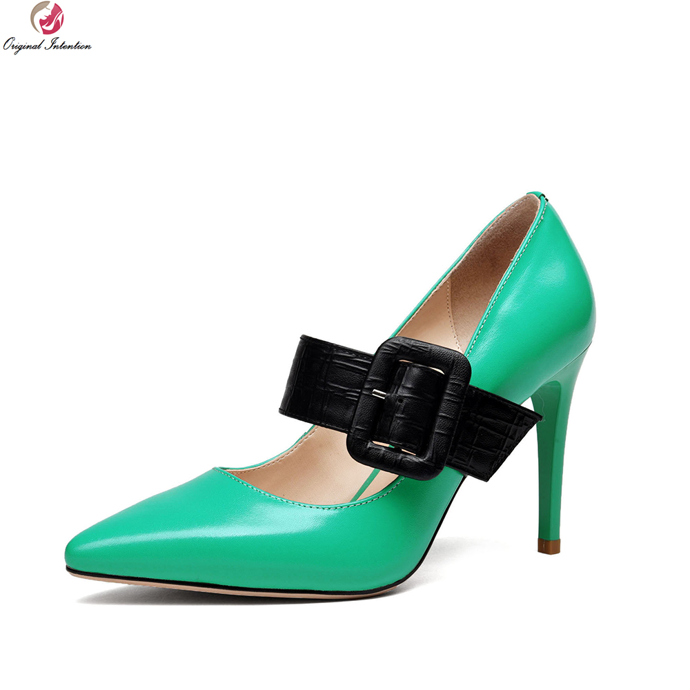 Original Intention Stylish Women Pumps Cow Leather Pointed Toe Thin Heels Pumps Fashion Yellow Green Shoes Woman US Size 4-8.5