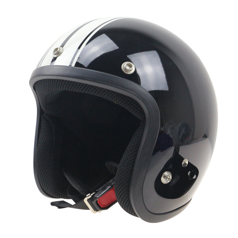 Blask with white strips Retro motorcycle helmet jet style ...