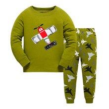Купить с кэшбэком 2019 plane Cartoon Baby Boys clothes Sleepwear Children pajamas sets Kids underwear nightgown Boys Onesies Clothing