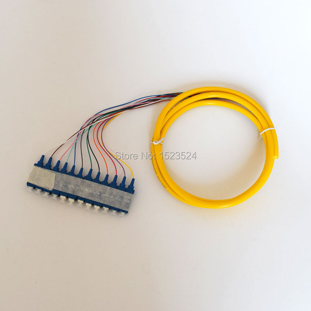 Free Shipping 12 Cores 1.5m 9/125 Singlemode SC/PC Bunchy Pigtail Fiber Optic Pigtail