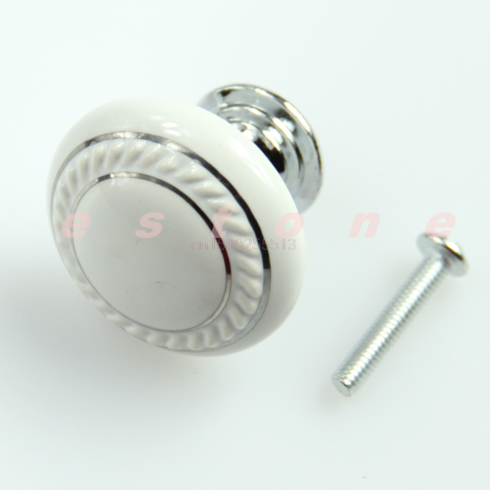 1set Door Knob White Ceramic Crystal Glass Door Knob Drawer Cabinet Kitchen Wardrobe Handle