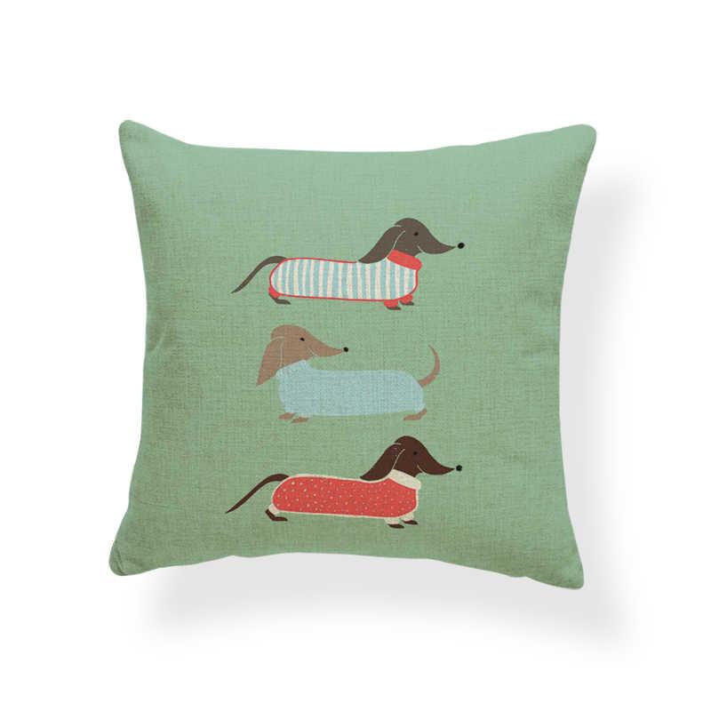 Различный стиль Подушка с изображением собак квадратная 17x17 дюймов полиэстер колбаса зеленая красная полоса любовь Мопс красный украшения Чехлы на подушки