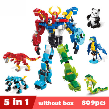 809pcs NEW 1403 Morphing Robot 5 In 1 Creator Of God War Model Building Blocks Action Figure Compatible Toys For Children Drop image