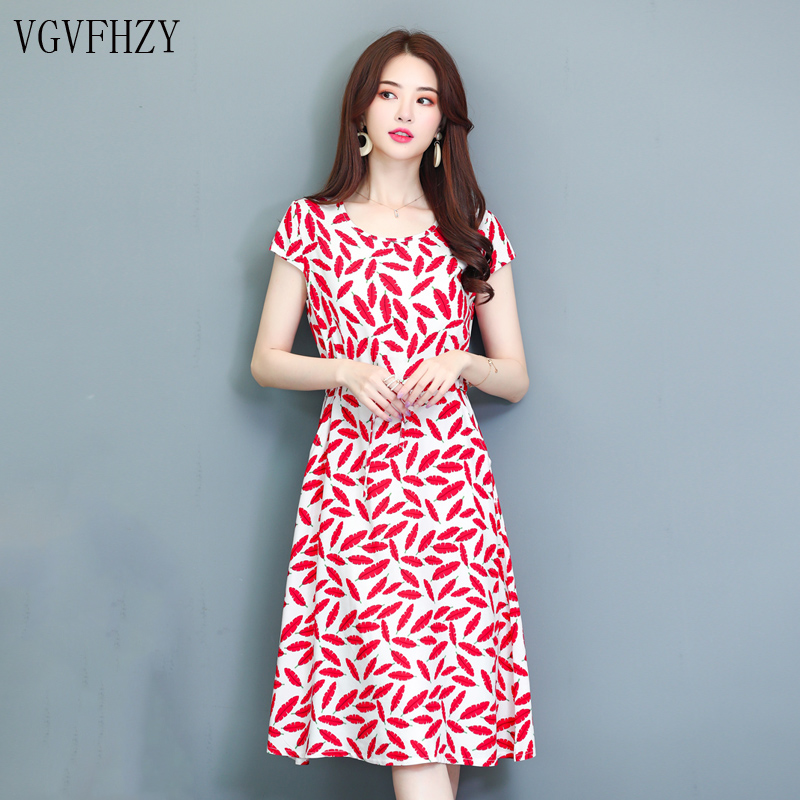 Women\'s Summer Dresses new 2019 New Middle-Aged Fashion Print Loose ...