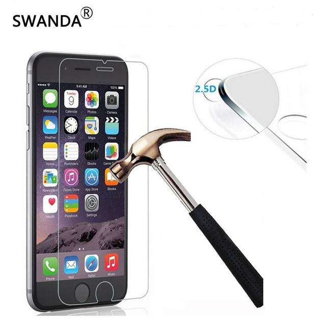 SWANDA 0.3mm Tempered Glass Film for iPhone 5 5s 9H Hard 2.5D Screen Protector for i6 6s 6 plus SE 4 4S i7 7 plus with Clean Too
