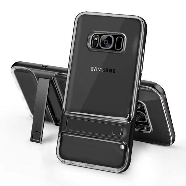 best cheap 9eb54 8dec4 US $8.6 |For Samsung Galaxy S8 Case Hybrid Slim Crystal Rubber Stand Cover  For Samsung Galaxy S8/S8 Plus Shockproof Case on Aliexpress.com | Alibaba  ...