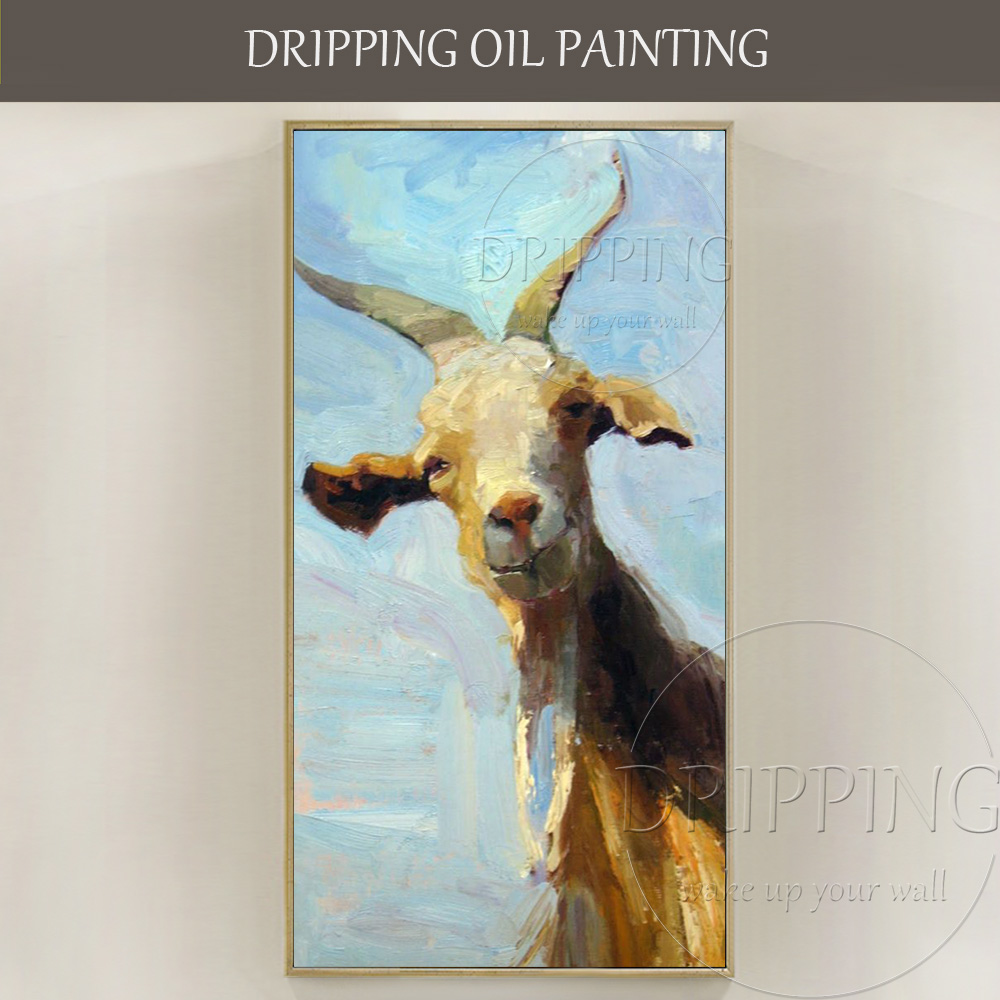 Artist Hand-painted Good Textured <font><b>Knife</b></font> Painting <font><b>Goat</b></font> Oil Painting on Canvas Smile Animal <font><b>Goat</b></font> Oil Painting for Living Room image