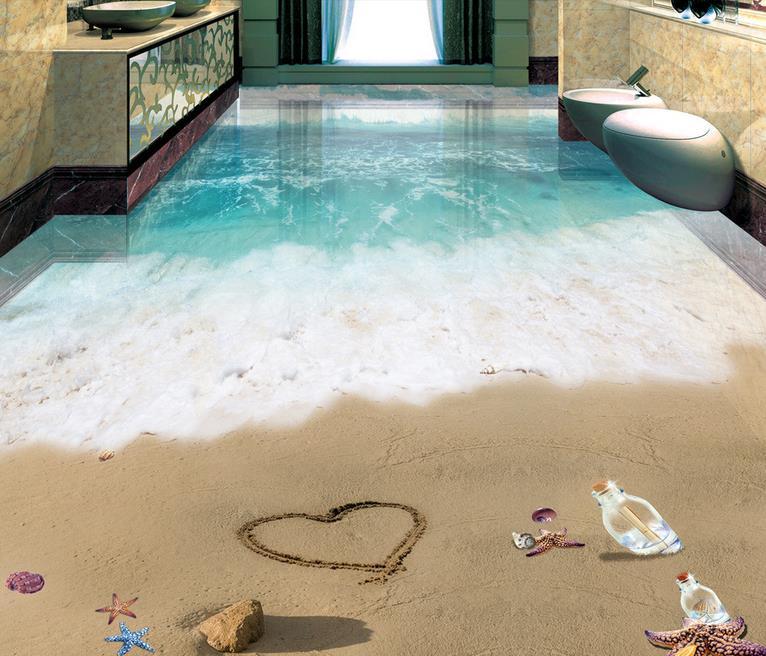 ФОТО custom 3d flooring Romantic beach 3d wallpaper living room waterproof floor wallpaper self adhesive 3d wallpaper mural