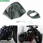 Motorcycle Black Front Chin Spoiler Air Dam Fairing Windscreen with Mount Hardwares For Harley Dyna