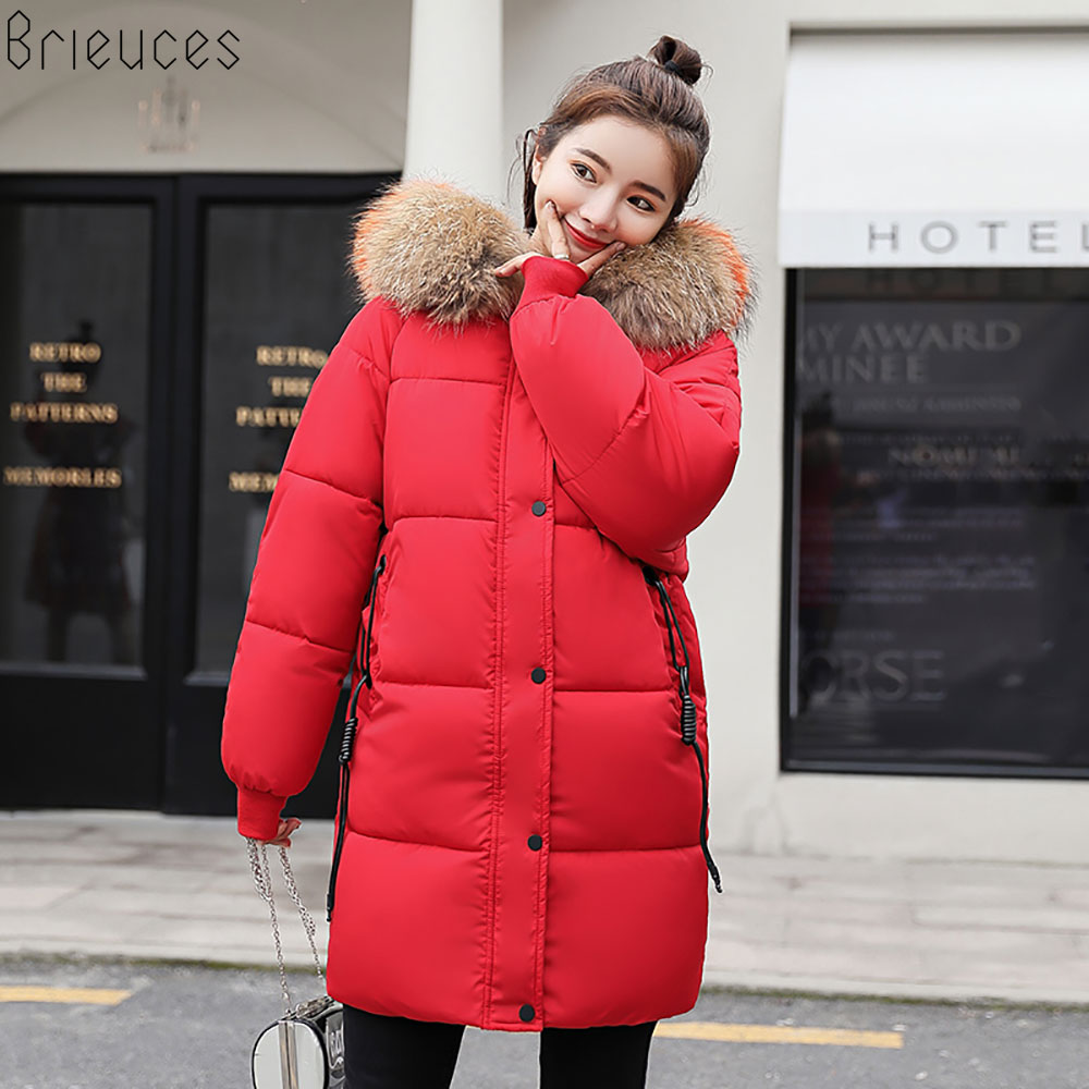 Brieuces 2018 new Winter Jacket Women's New Fashion Brand Warm Thick Outwear Coat Women Jackets   Parka   Female Hooded Cotton Coat