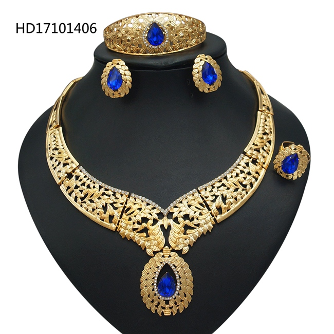 Free Shipping YULAILI Big Necklace Bracelet 22 Carat Gold Color Jewelry Sets For Ladies