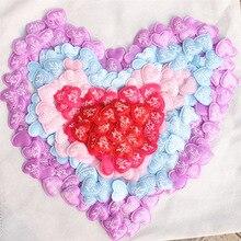 100pcs 3.5cm Heart Shaped Sponge Petals Satin Fabric Artificial Flower Wedding Decor DIY Scatter Confetti DA