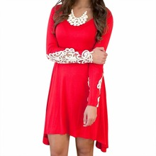 Women Loose Top Long Sleeve Crochet Lace Party Vestidos Solid Sexy Party Dresses Short Dress Casual Large Size Dress Beauty