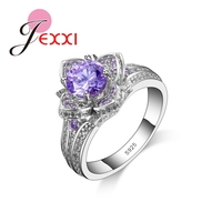 Beautiful Purple Flower Ring With Full Shiny AAA Austrain Rhinestone 925 Sterling Silver Fashion Jewelry For