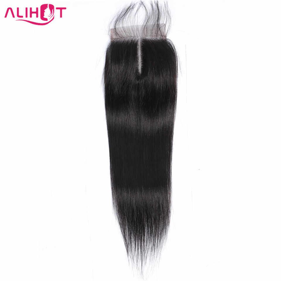Ali caliente encaje recto cierre malayo Color Natural 4*4 gratis/Medio/tres partes no Remy humano cierre de cabello de 8 a 22 pulgadas