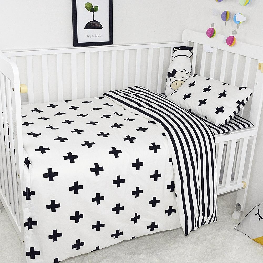 Baby Bedding Set Breathable Cotton Crib Set Print Black ...
